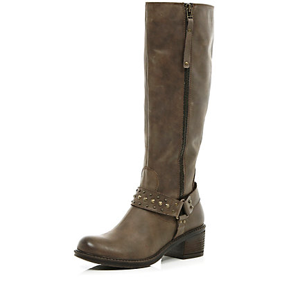 Brown western stud knee high boots