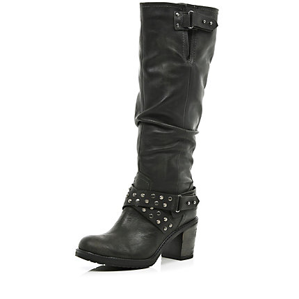Black studded slouch knee high boots