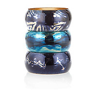 Blue holographic chunky bangle pack