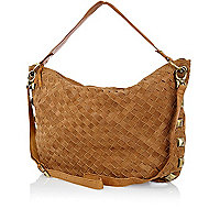 Beige leather weave studded slouch bag