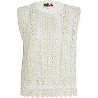 White Chelsea Girl embroidered shell top