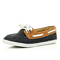 Navy perforated contrast trim boat shoes