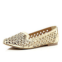 Gold woven slipper shoes