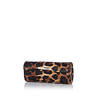 Brown leopard print sunglasses case