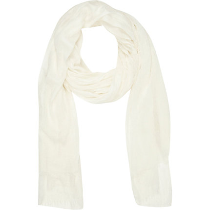 Cream lightweight long scarf