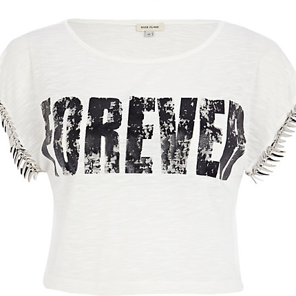 Cream forever embellished crop t-shirt