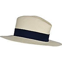 Cream fedora straw hat