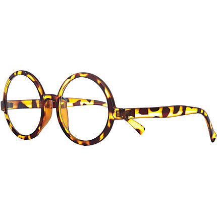 Brown tortoise round geek glasses