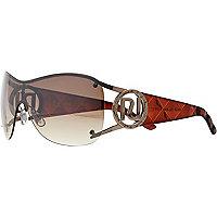 Brown diamante logo visor sunglasses