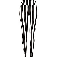 Black vertical block stripe leggings