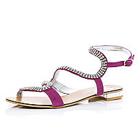 Pink diamante embellished spiral sandals