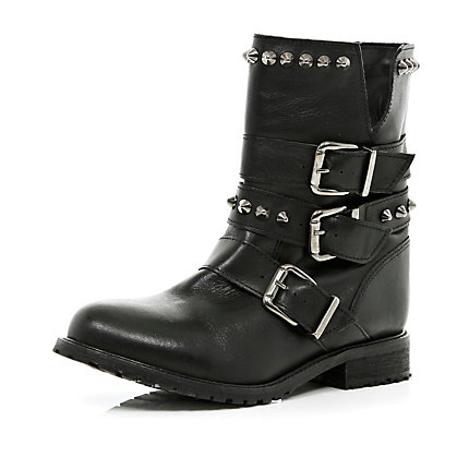 Black studded buckle biker boots