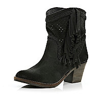 Black perforated tassel western ankle boots