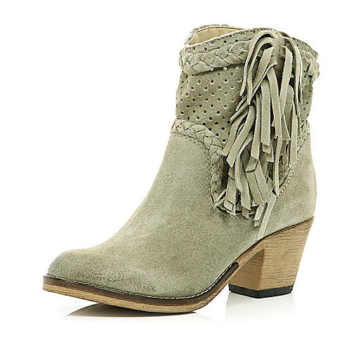 Light grey perforated western ankle boots