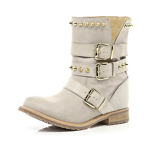 White studded buckle biker boots