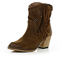 Brown perforated tassel western ankle boots
