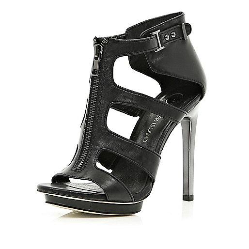 Black zip front cut out stiletto sandals