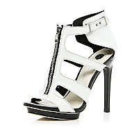White zip front cut out stiletto sandals