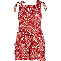 Red bandana print low back playsuit