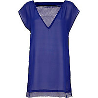 Blue mesh insert cut out tunic dress