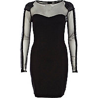 Black mesh panel embellished bodycon dress