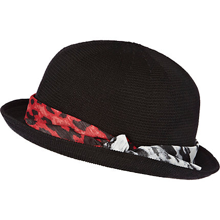 Black leopard print trim soft bowler hat