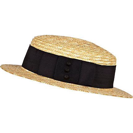 Cream studded bow trim straw boater hat