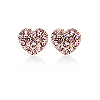 Rose gold tone diamante heart earrings