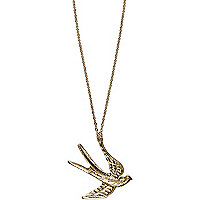 Gold tone swallow long necklace