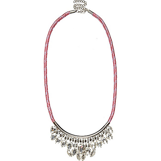 Pink bungee cord gem stone necklace