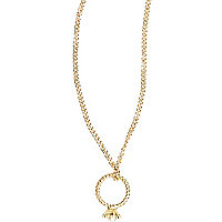 Gold tone diamante ring necklace