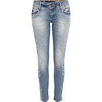 Light wash embellished Matilda skinny jeans