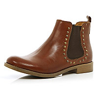 Brown leather studded chelsea boots