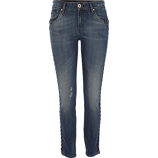 Mid wash lace up Amelie superskinny jeans