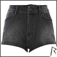 Black Rihanna zip back denim shorts
