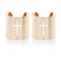 Gold tone metal cut out cross bangles