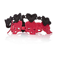 Black skull and heart crochet bracelets