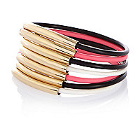 Black, pink and white plastic bracelet pack