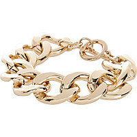 Gold tone chunky curb chain bracelet