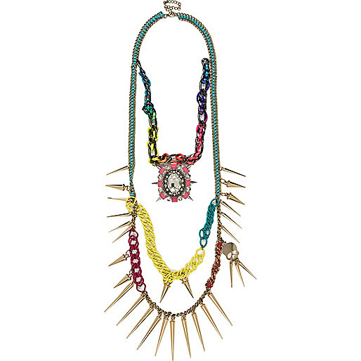 Pink bright fluro layered statement necklace