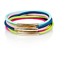 Multicoloured bungee cord metal hairband pack