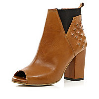 Brown open toe studded ankle boots