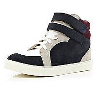 Navy colour block hidden wedge mid tops