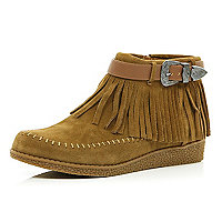 Light brown moccasin ankle boots