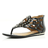 Black embellished grecian sandals