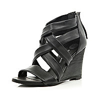 Black strappy sandal wedges