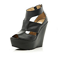 Black cut out high heel wedges