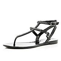 Black diamante jelly sandals