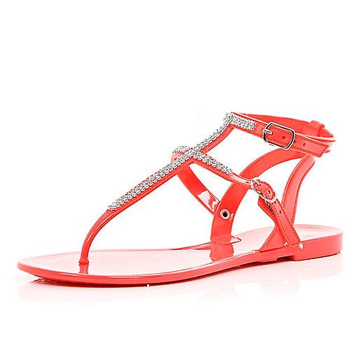 Orange rhinestone jelly sandals
