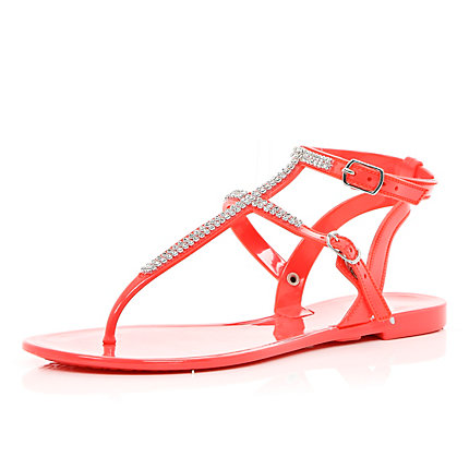 Orange diamante jelly sandals